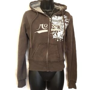 Roxy Brown Zippered Hoodie w/ Roxy Graphic size S